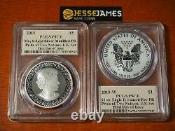2019 W Silver Eagle Pcgs Pr70 Pride Of 2 Nations Set First Day Issue Cleveland