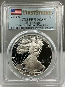 2019-s Limited Edition Silver Proof Set 8 Coin Set Pcgs Pr70 Dcam First Strike