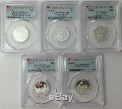 2019-s Pcgs Pr70 (5) Coin Silver Proof Quarter Set. 25 First Day Issue Pf