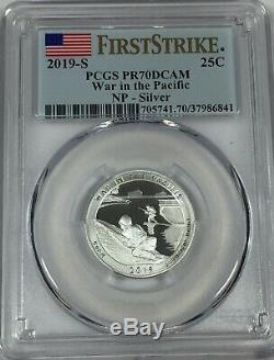 2019-s Pcgs Pr70 (5) Coin Silver Proof Quarter Set. 25 First Strike Pr 70 Live
