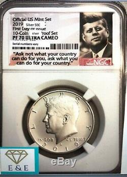 2019-s Proof-70, Ngc First Day Issue Kennedy Half 99.9% Silver, Frm 10 Pc Set