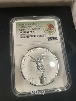 2020 Mexico Silver Libertad Reverse Proof, Proof Set PF70 ER 2-Coin Set In Hand