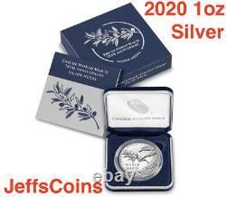 2020 P End of World War 2, WW2 75th Anniversary 1oz Silver Medal Eagle NGC PF69