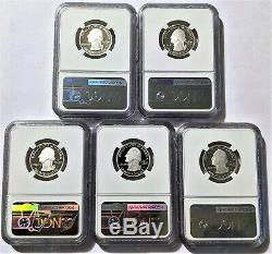 2020-S Silver Proof Quarter Set NGC PF70 UC (5) Coins 999 Fine Silver Park Label