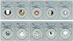 2020 S Silver Proof Set 10 Coins Pcgs Pr70dcam First Day Of Issue