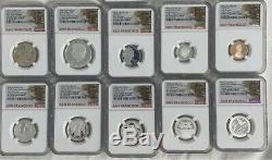 2020 S Silver Proof Set NGC PF70 Early Releases 10 Coins Trolley Car Label