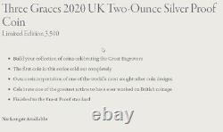 2020 UK Royal Mint The Three Graces Two-Ounce (2oz) Silver Proof £5 Coin