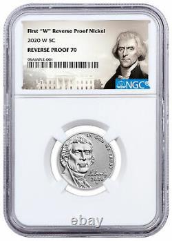 2020-W Clad Reverse Proof Jefferson Nickel NGC Rev PF70 + U. S. Silver Proof Set