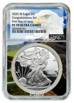 2020 W Congratulations Set Silver Eagle Proof NGC PF70 UC First Day of Issue