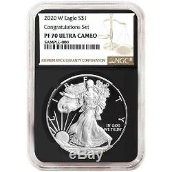 2020-W Proof $1 American Silver Eagle Congratulations Set NGC PF70UC Brown Label