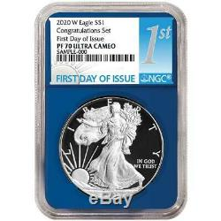 2020-W Proof $1 American Silver Eagle Congratulations Set NGC PF70UC FDI First L