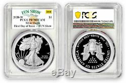 2020 W Silver Eagle Proof First Day of Issue Fun Show PR-70 Congratulations Set