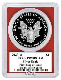 2020 W Silver Eagle Proof PCGS PR70 Red White Blue Set First Day Donald Trump