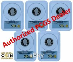 2020-s Pcgs Pr70 (5) Coin Silver. 999 Proof Quarter Set Atb First Day Of Issue