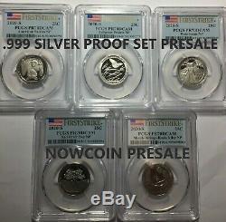 2020-s Pcgs Pr70 (5) Coin Silver Proof Quarter Set First Strike Presale
