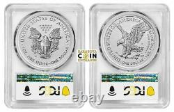 2021 PCGS PR-70 American Eagle One Ounce Silver Reverse Proof Two-Coin Set FDOI