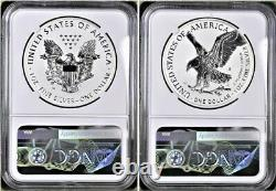 2021 Reverse Proof Silver Eagle 2 Coin Designer Set, Ngc Rev Pf 69 First Release