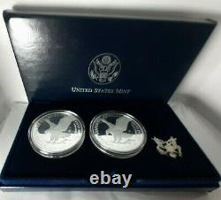 2021 Type 2 (2) Coin Set Both Us Mint W & S Proof Silver Eagle Landing
