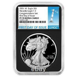 2021-W Proof $1 American Silver Eagle Congratulations Set NGC PF70UC FDI First L
