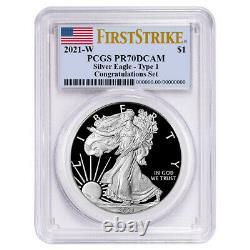 2021-W Proof $1 American Silver Eagle Congratulations Set PCGS PR70DCAM FS Flag