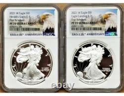 2 Coin Set 2021 W Proof Silver Eagle, Type 1 & 2, Ngc Pf70uc First Releases