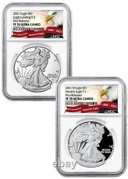 2pc 2021 W American 1 oz Silver Eagle T1 -T2 NGC PF70 UC FR Type Set PRESALE
