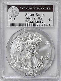 5 PCS 2011 25th Anniversary Silver Eagle Set, PCGS MS-69/Proof-69, First Strike