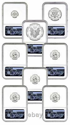 8 Coin Set 2020 S US Limited Edition Silver Proof NGC PF70 UC FR Trolley Label