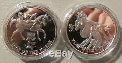 999 Nude Silver Proof Coin Lady Art Rounds Set Chinese New Year / Asian Zodiac