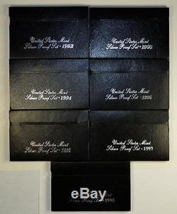 COMPLETE RUN US SILVER PROOF SETS DATED 1992 TO 2015 & 1956 TO 2015 PROOF SETS