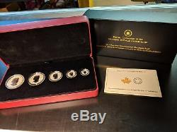 Canada 2014 Reverse Proof Maple Leaf. 9999 Fine Silver Fractional Set