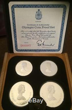 Complete 1976 Montreal Olympics 7 Series Proof 28 Coin Set Sterling SIlver Boxed