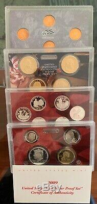 Complete Set of 1999-2009 U. S. 90% SILVER PROOF State Quarters About 127 Coins