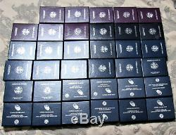 Complete Silver Eagle Proof Set 35 coin Collection 1986-2019S All OGP &CoA