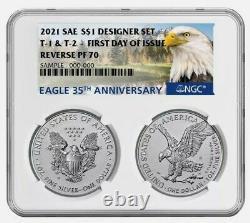 DUAL 2021 Reverse Proof American Silver Eagle Designer 2 Set NGC PF70UC FDOI FDI