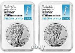 DUAL 2021 Reverse Proof American Silver Eagle Designer 2 Set NGC PF70UC PR70