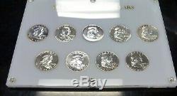 FRANKLIN Silver HALF Dollars PROOF Short set of 9 In Hard plastic holder 1955-63