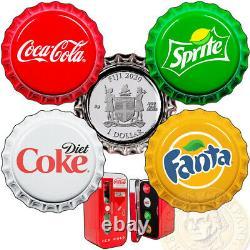 Fiji COCA-COLA FANTA SPRITE COKE-DIET Silver Coin Set $1 Bottle Cap 2020 Vending