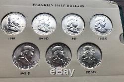 Franklin half dollar set, High Grade BU/AU 1948-63 p-d-s mints 35 coins, no proofs