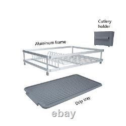 Kitchen Countertop Rust Proof Aluminum Dish Drying Rack With Drainboard Set