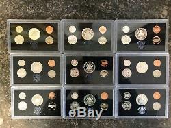 Lot Of (9) 1992-1998-s Us Mint Silver Proof Sets Original Packaging Coa