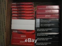 Lot of 23 U. S. Silver Proof Sets, 1993, 1996 and 2002-2015 withBoxes and COAs