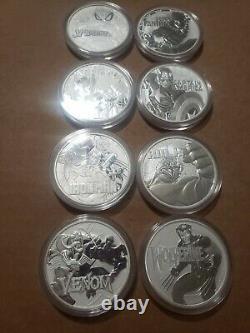 Marvel Tuvalu 8 coin Marvel set. 9999 1 oz Silver