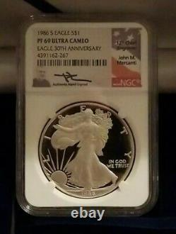 Mercanti Signed NGC Set 1st Year 1986(S) MS 69 & 1986 S Proof Silver Eagle PF 69