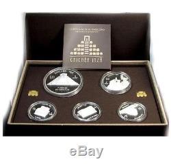 Mexico 2012 5,10,15 Pesos Chichen Itza total 10 Oz Silver Proof Coin Set RARE