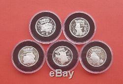 Niue 2001 Pokemon series 1 Dollar Proof Silver 5 Coins Set