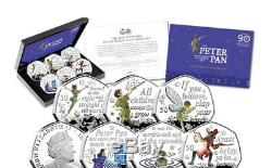 Official 2019 Peter Pan Silver Proof 50p Coloured Coin Set Royal Mint Full set