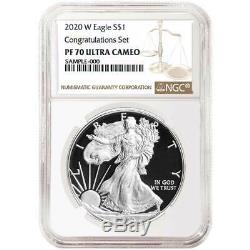 Presale 2020-W Proof $1 American Silver Eagle Congratulations Set NGC PF70UC B