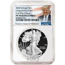 Presale 2020-W Proof $1 American Silver Eagle Congratulations Set NGC PF70UC F