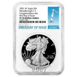 Presale 2021-W Proof $1 American Silver Eagle Congratulations Set NGC PF70UC F